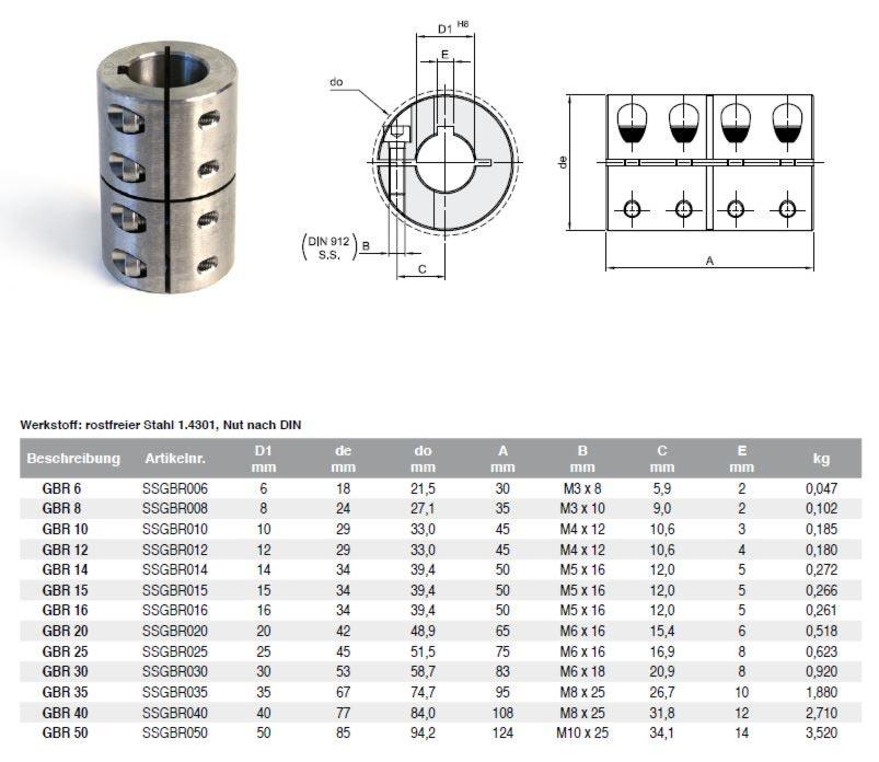 Wellenkupplung 1-teilig Stahl V2A -geschlitz